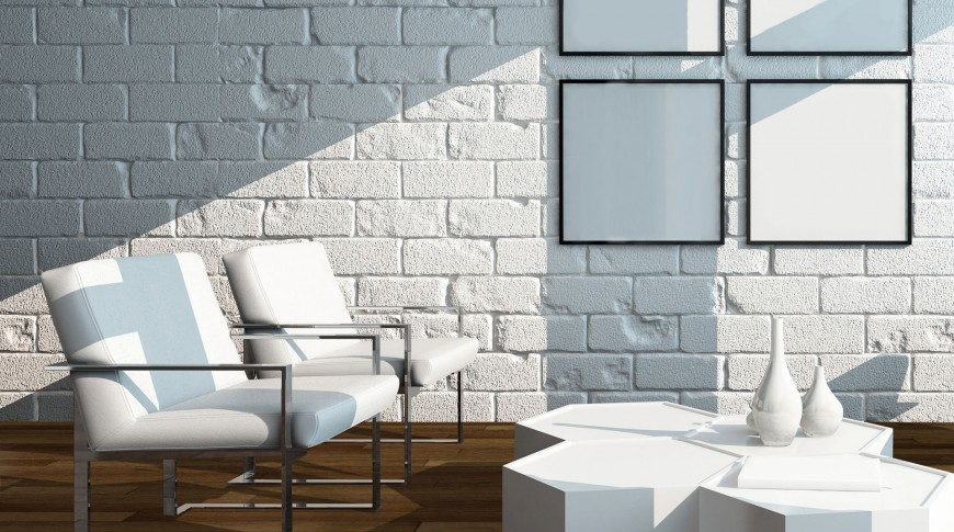 Picture of Minimalist living room interior with white brick wall and chairs